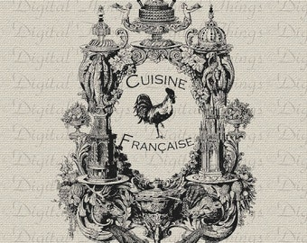 Vintage French Rooster Cuisine Food Kitchen Decor Art Printable Digital Download for Iron on Transfer Fabric Pillows Tea Towels DT931
