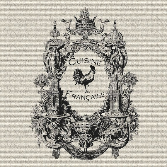 Vintage French Rooster Cuisine Food Kitchen Decor Art