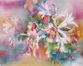 Garden Bouquet luxury print of original watercolor in lavender, gold, white