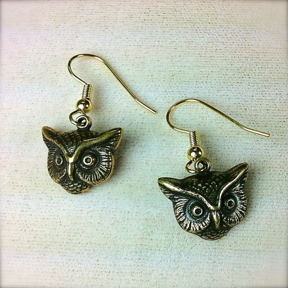 The Wise Old Owl Earrings in Vintage Gold or Silver