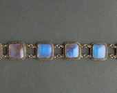 Antique Butterfly Wing Bracelet. Wide Panel Blue Morpho. Iridescent.