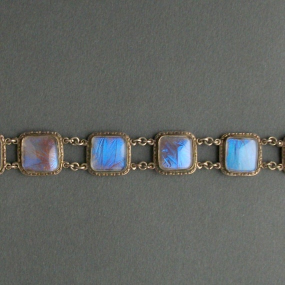 Antique Butterfly Wing Bracelet. Wide Panel Blue Morpho. Iridescent.