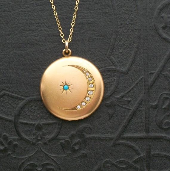 victorian moon  u0026 star locket  turquoise star  bright crescent