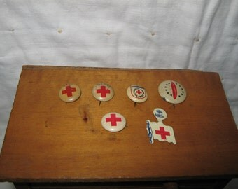 Vintage Red Cross Pins Lot of Six