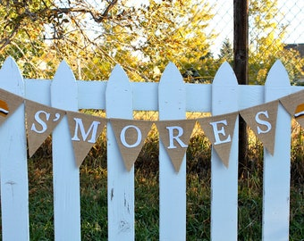 S'mores Party Burlap Banner, S'more Bar, Dessert Table,