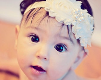 Shabby Chic Vintage Ivory Chiffon Headband with crystal pearl button on the center , baby girl toddler infant Children headband, baby bow