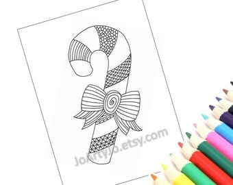 Christmas Printable Coloring Page, Holiday Zentangle Inspired Candy Cane. Holiday Activity (Christmas Coloring Page 2)