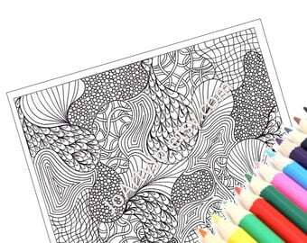 Coloring Page Printable PDF, Very Intricate Zentangle Inspired, Zendoodle Page 38 - Instant Download