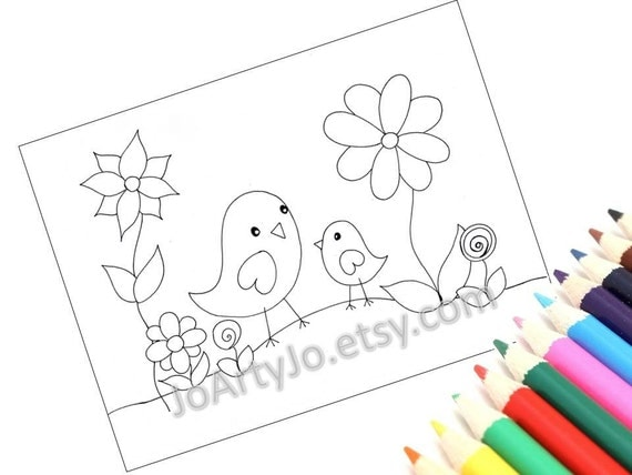 Printable Coloring Pages, Set of 4- Cute Birds