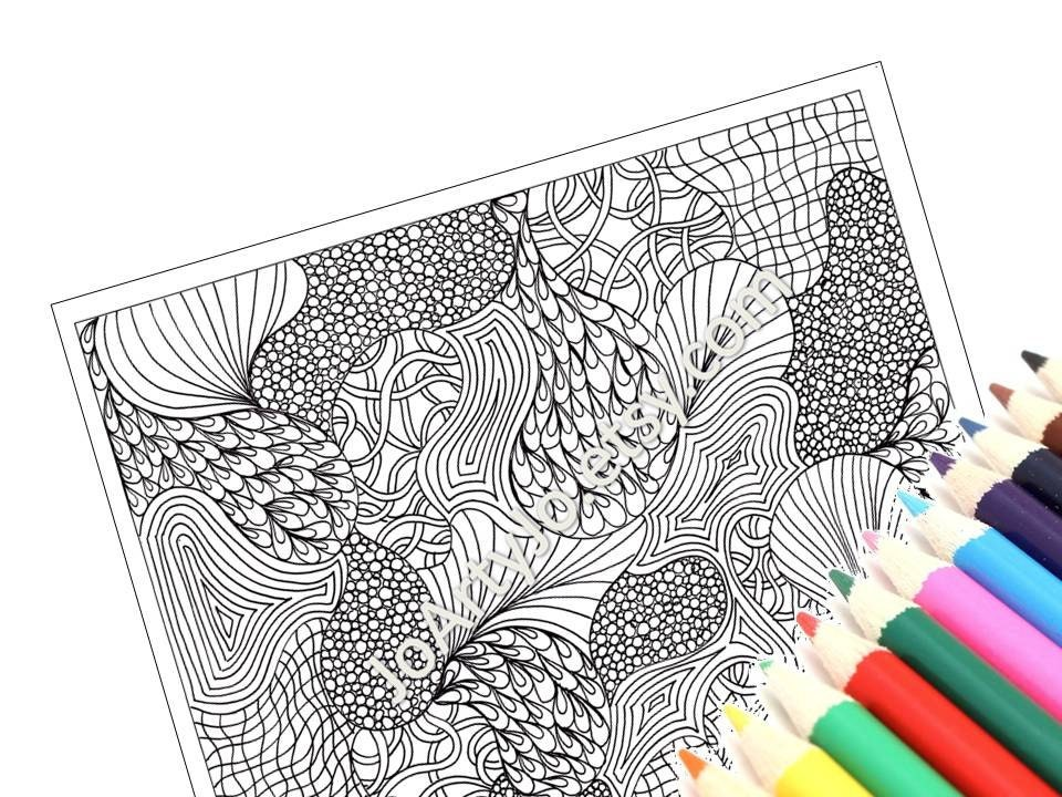 Coloring Page Printable PDF Very Intricate Zentangle