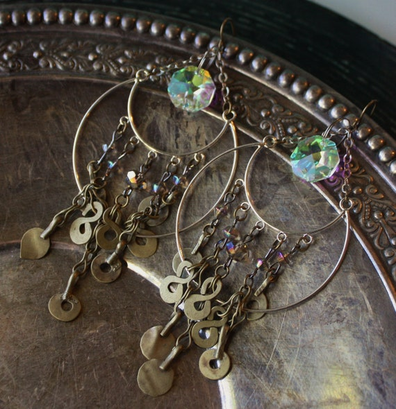 Tribal Gypsy Earrings- Silver Crescent with AB Crystal, Kuchi Dangles