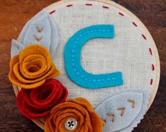 M is for Monogram Wall Art // Bright and Kitsch Linen Embroidery Hoop Art in Teal, Red, Goldenrod, Grey // Easy Gift!