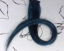 Hand Wefted Clip in 18 Inch Hair Extension Blue Black Gothic Steampunk Cosplay