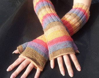 Custom Hand Knitted Long Elbow Length Fingerless Gloves Made to Your Specifications