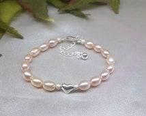 Girls Pink Pearl Bracelet Toddlers Pearl Bracelet Baby Pink Pearl Bracelet Heart Bracelet Adjustable Bracelet 100% 925 Sterling Silver