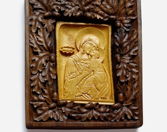 Orthodox Christian, Religious Icon, Virgin Mary and Jesus, Art Wood Carving, Byzantine, Wood wall art, Handmade Woodworking, MariyaArts