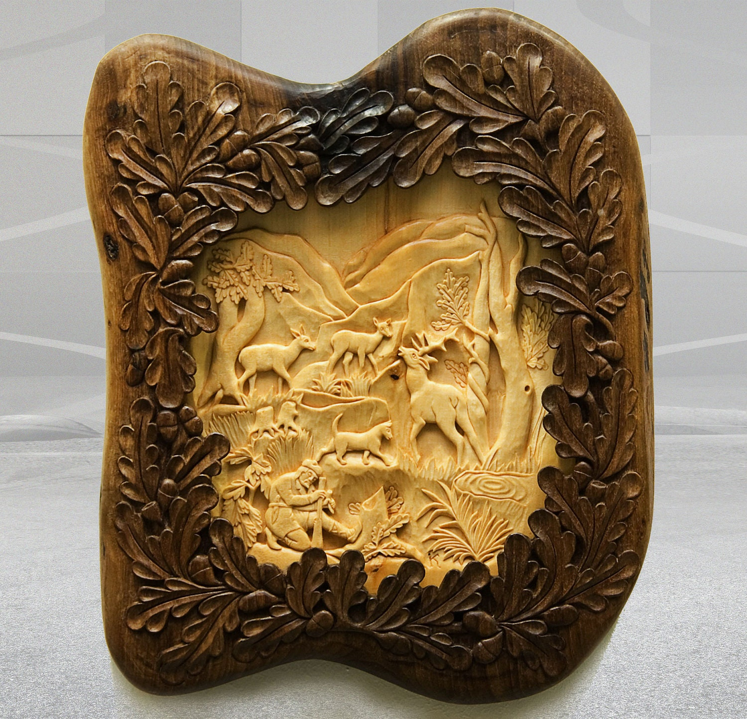 Wall art wood carving hunting scene with deer and