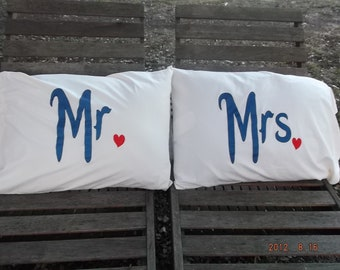 Mr. and Mrs. Hand painted, Standard Pillow Cases - Perfect Couples Gift, Bedroom Decor