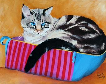 """Custom cat portrait, pet portrait on 10""""x14"""" canvas, dog portrait, pet painting"""