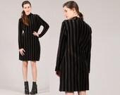 90s velvet dress striped // army green black beetlejuice stripes // vintage goth grunge // small medium
