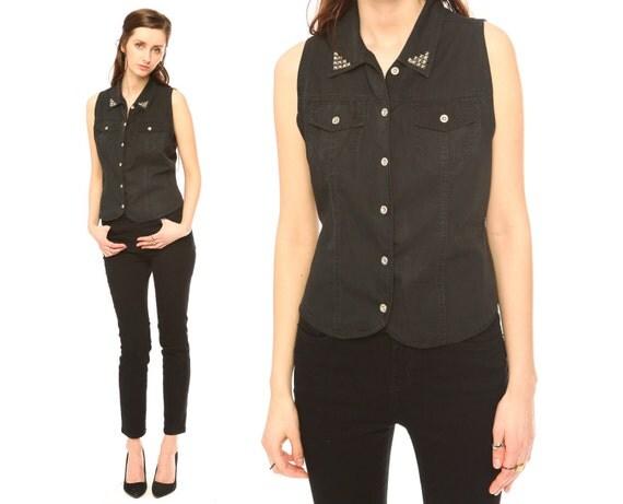 studded collar shirt // vintage 90s // black sleeveless tank top shirt blouse // cropped // silver studs //  small medium