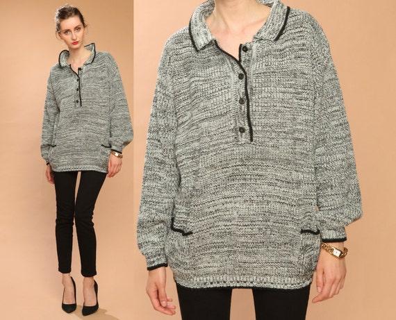black white sweater // oversized // vintage 80s // knit // button up neck // oversized slouchy // unisex one size