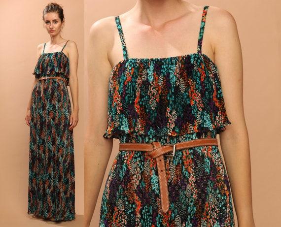 1970s floral dress // maxi // vintage hippie boho // crochet gypsy festival // Saks 5th Ave designer // xsmall small