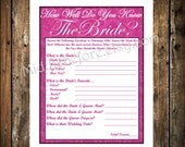 INSTANT DOWNLOAD- Pink Damask Printable Wedding Bridal Shower Game How Well Do you Know the Bride