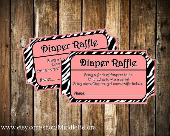 INSTANT DOWNLOAD- Pink Zebra Print Printable Baby Shower Diaper Raffle Ticket