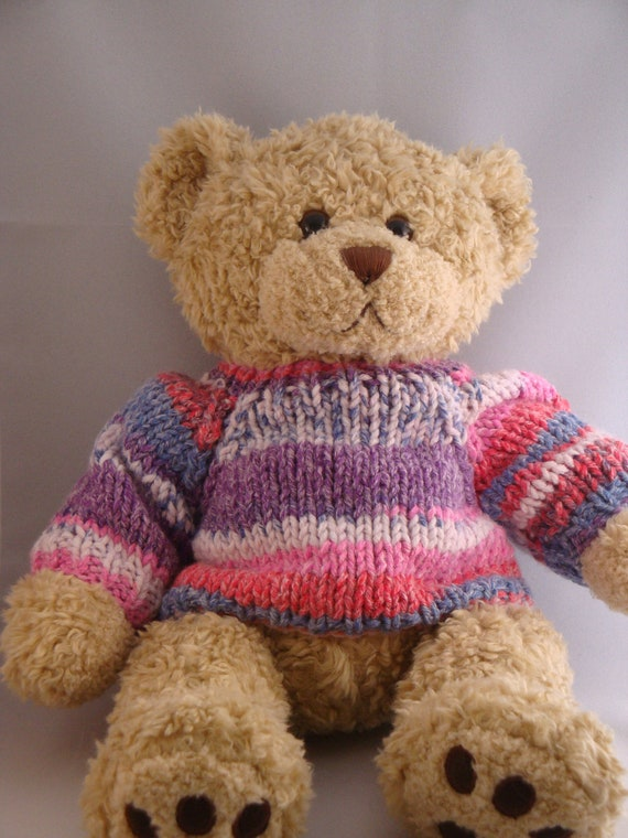 Knitting Pattern For Teddy Bear Jumper : Chunky Teddy Bear Sweater Hand knitted Fair Isle by ...