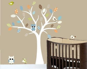 Childrens tree wall decal with owls and birds - 0219