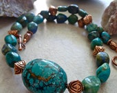 Chunky Chrysocolla Azurite and Large Turquoise Pendant Necklace, Unique Stone Artisan Necklace