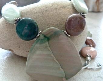 Imperial Jasper Bali Silver Woodland Green Earthy Artisan Pendant Necklace