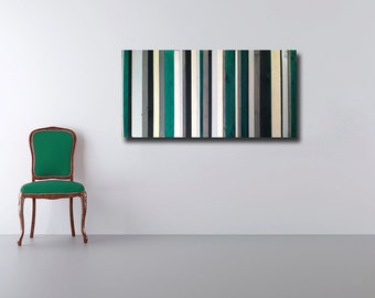 Emerald City - Reclaimed Wood Art  in Green, White, Black, Cream and Gray Stripes - Modern Wood Wall Art - Abstract Wood Art
