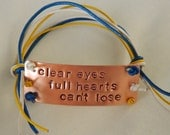 Friday Night Lights Inspired Handstamped Bracelet 'clear eyes, full hearts, can't lose'
