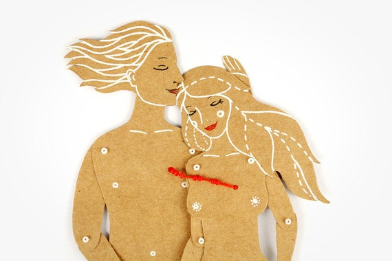 The Lovers - Articulated Art Paper Dolls by Dubrovskaya. Handmade and hand painted gift.