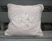 Button pillow - decorative pillow made with new and vintage buttons - Fleur de Lis