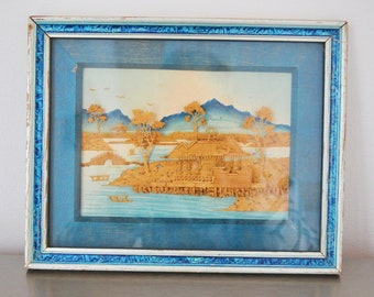 Vintage Asian Cork Shadow Box Watercolor Scene Blue Turquoise Intricate