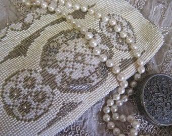 Beaded Clutch Art Deco Vintage Evening Purse BRIDE Boho Wedding Bridal 30s Czech Cream Taupe Zipper Wallet Phone Case Slips on Belt
