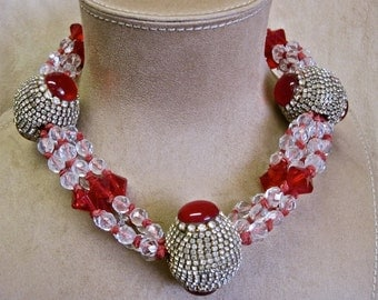 Rhinestone Jeweled Eggs Ruby Red Crystal Designer Choker Necklace SPECTACULAR and RARE Dramatic Statement Vintage 60s One of a Kind ooak
