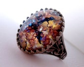 Amethyst Opal Ring - Adjustable Ring - Glass Stone - Fantasy - Statement Ring
