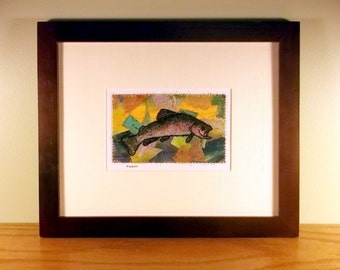 Matted fiber art, abstract background and fish sketch