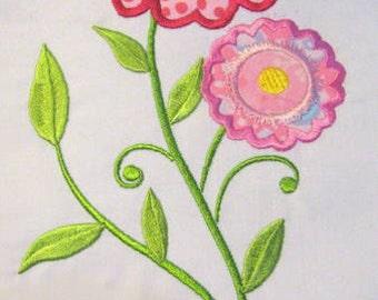 Vintage Flower 01 Machine Applique Embroidery Design - 5x7 & 6x8