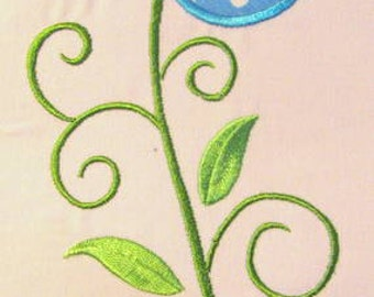 Vintage Flower 08 Machine Applique Embroidery Design - 5x7 & 6x8
