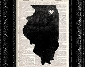 I Heart Illinois - State Map - Map Art Print Personalized - Vintage Dictionary Print - Book Print Page Art  Vintage Book Art
