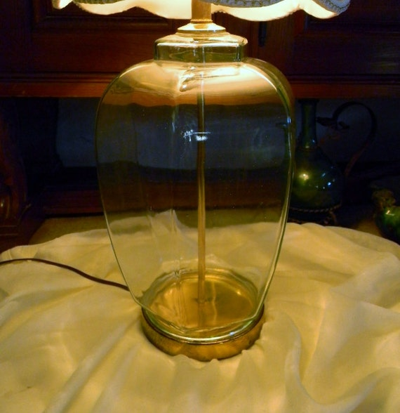 vintage clear glass table lamp fillable base rare hexagon ginger jar. Black Bedroom Furniture Sets. Home Design Ideas