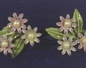 Tiny lavender and green enamel and pearl daisies screw back earrings