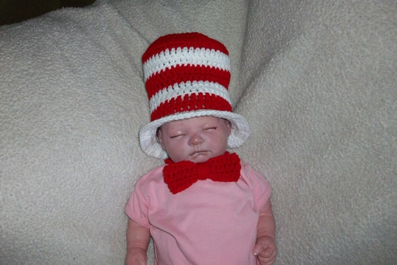Cat In The Hat & Bow Tie For Baby Photo Prop Crochet