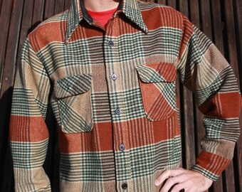 The Big Sky - Awesome 70s Vintage Rust Flannel Shirt Coat with Anchor Buttons, JC Penney, Large