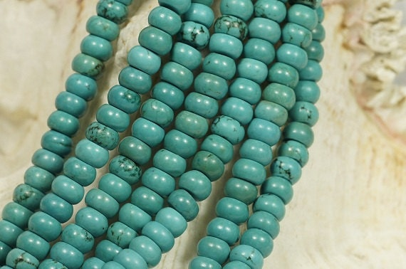 Turquoise Beads 6.7X4 mm Rondelle Gemstone Beads Natural Beads Strands